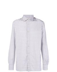 Camisa de manga larga a cuadros gris de Kiton