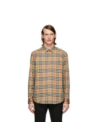 Camisa de manga larga a cuadros marrón claro de Burberry