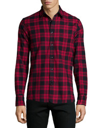 Camisa de manga larga a cuadros morado oscuro