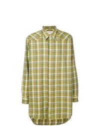 Camisa de Manga Larga a Cuadros Verde Oliva de Maison Margiela