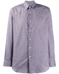 Camisa de manga larga a cuadros violeta claro de Brioni