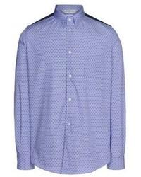 Camisa de manga larga a lunares azul
