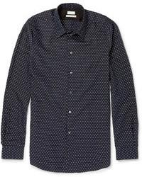 Camisa de manga larga a lunares en azul marino y blanco