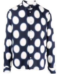 Camisa de manga larga a lunares en azul marino y blanco de Sandro Paris