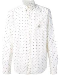 Camisa de manga larga a lunares en blanco y azul marino