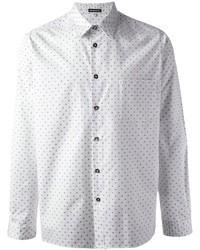 Camisa de manga larga a lunares en blanco y azul
