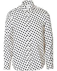 Camisa de manga larga a lunares en blanco y negro