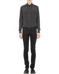Camisa de manga larga a lunares en negro y blanco