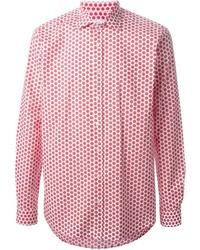 Camisa de manga larga a lunares en rojo y blanco