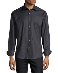 Camisa de manga larga a lunares negra