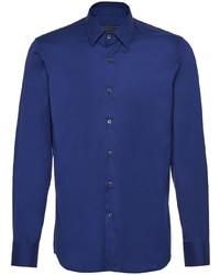 Camisa de manga larga azul marino de Prada