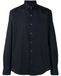Camisa de manga larga azul marino de Salvatore Ferragamo