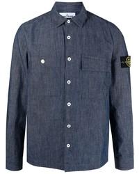 Camisa de manga larga azul marino de Stone Island