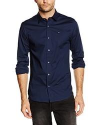 ca55f95d33c Comprar una camisa de manga larga azul marino Tommy Hilfiger