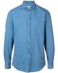 Camisa de manga larga azul de Brunello Cucinelli
