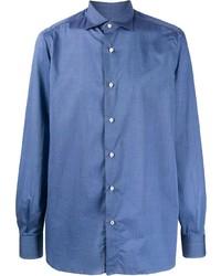 Camisa de manga larga azul de Isaia