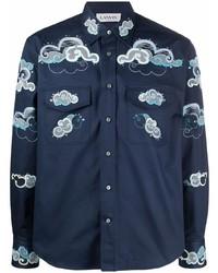 Camisa de manga larga bordada azul marino de Lanvin