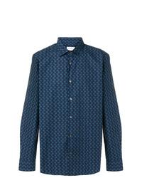 Camisa de manga larga bordada azul marino de Salvatore Ferragamo