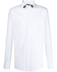 Camisa de manga larga bordada blanca de Dolce & Gabbana
