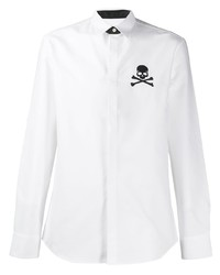 Camisa de manga larga bordada blanca de Philipp Plein