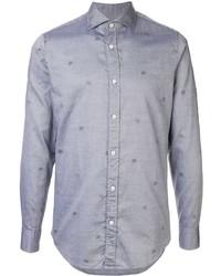 Camisa de manga larga bordada celeste de Ermenegildo Zegna