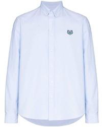 Camisa de manga larga bordada celeste de Kenzo