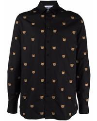Camisa de manga larga bordada negra de Moschino