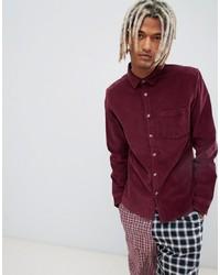 Camisa de manga larga burdeos de ASOS DESIGN