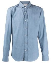 Camisa de manga larga celeste de Brunello Cucinelli