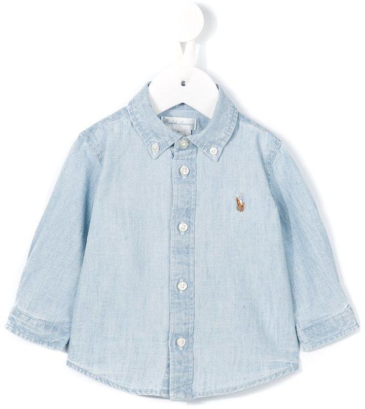 Camisa de manga larga celeste de Ralph Lauren