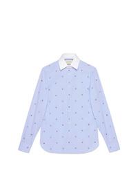 Camisa de manga larga con adornos celeste de Gucci