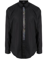 Camisa de manga larga con adornos negra de Versace