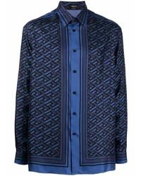 Camisa de manga larga con estampado geométrico azul marino de Versace