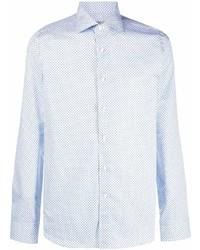 Camisa de manga larga con estampado geométrico celeste de Canali