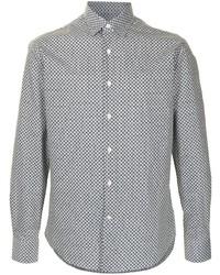 Camisa de manga larga con estampado geométrico en negro y blanco de Salvatore Ferragamo
