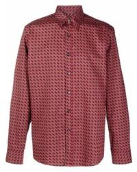Camisa de manga larga con estampado geométrico roja de Salvatore Ferragamo