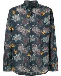 Camisa de manga larga con print de flores azul marino de Etro