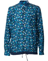 Camisa de manga larga con print de flores azul
