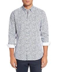 Camisa de manga larga con print de flores blanca