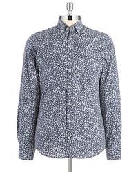 Camisa de manga larga con print de flores en azul marino y blanco