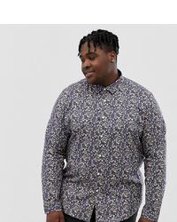 Camisa de manga larga con print de flores en azul marino y blanco de ASOS DESIGN