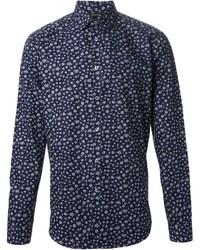 Camisa de manga larga con print de flores en azul marino y blanco de Paul Smith