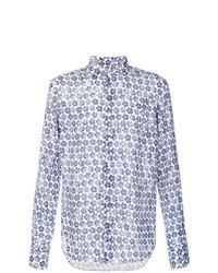 Camisa de manga larga con print de flores en azul marino y blanco de Xacus
