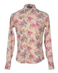 Camisa de manga larga con print de flores en beige