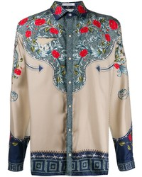Camisa de manga larga con print de flores en beige de Versace Collection