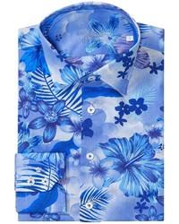 Camisa de manga larga con print de flores en blanco y azul
