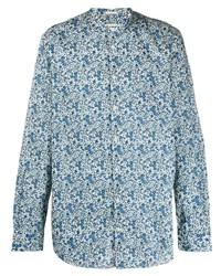 Camisa de manga larga con print de flores en blanco y azul de Massimo Alba