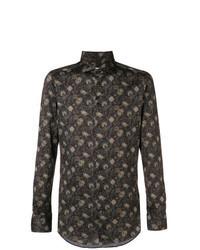 Camisa de manga larga con print de flores en marrón oscuro