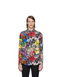 Camisa de manga larga con print de flores en multicolor de Versace