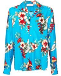 Camisa de manga larga con print de flores en turquesa de Rhude